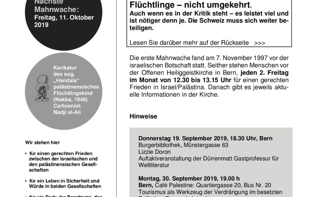 Flyer Mahnwache September 2019