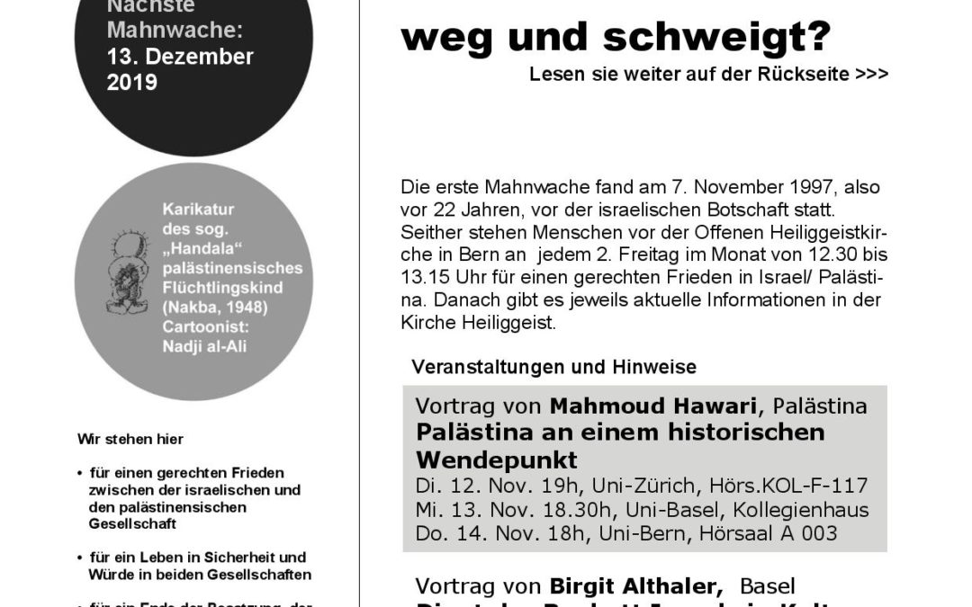 Flyer Mahnwache November 2019